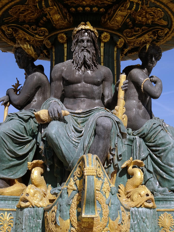 Fontaine des Mers. (Detail), Place de la Concorde, Paris 8. March 2015. The two monumental fountains of the Place de la Concorde are stopped. The opportunity to royalty free stock photo