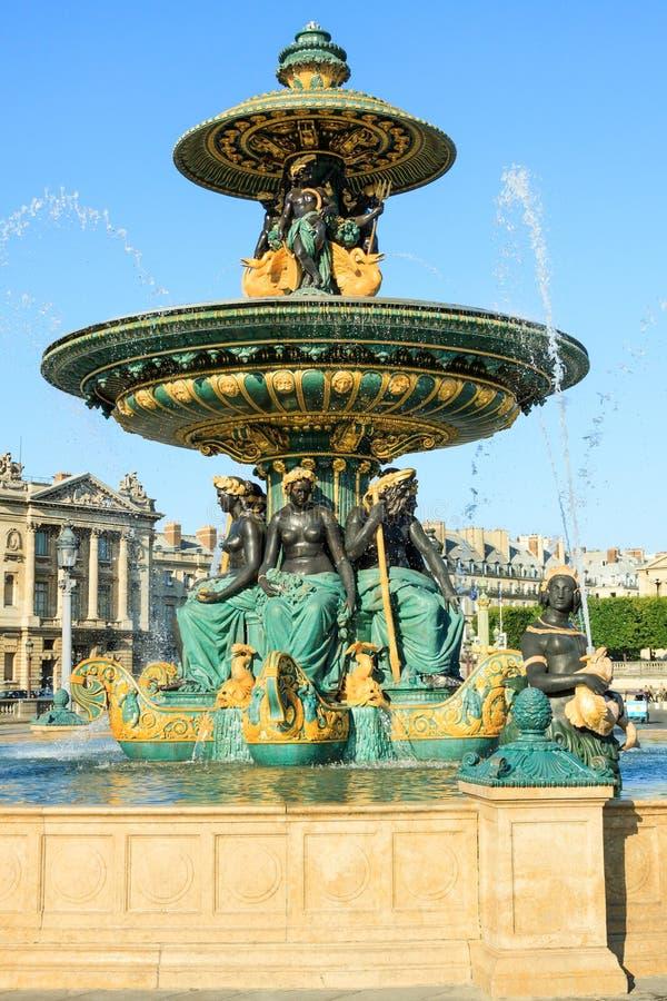 Fontaine des Mers, Paris, France. Fountains on Place de la Concorde - Fontaine des Mers in Paris stock photos