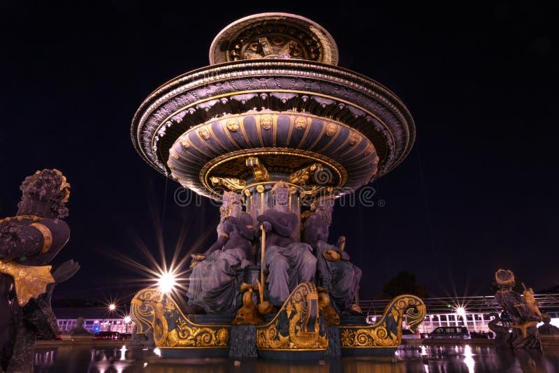 Fontaine des Mers. At the Place de la Concorde at night, Paris, France stock photos