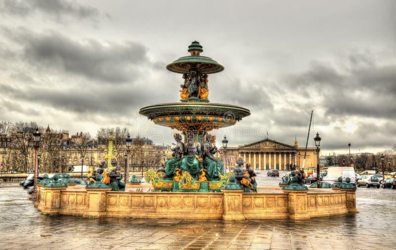 Fontaine des Mers on the Place de la Concorde. In Paris stock photography