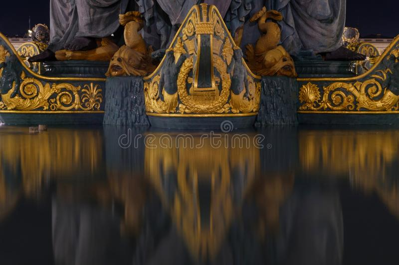 Fontaine des Mers. At the Place de la Concorde it is reflected on the water, Paris, France stock images