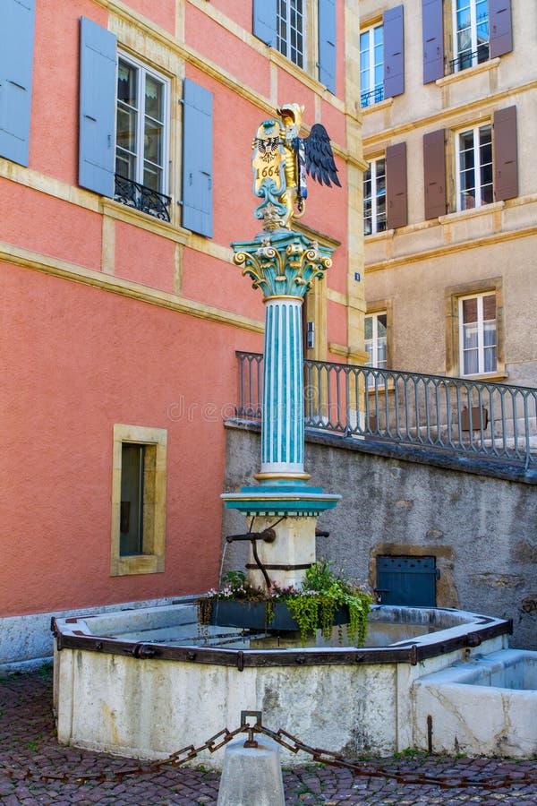 Fontaine du Griffon a Neuchatel stock photos