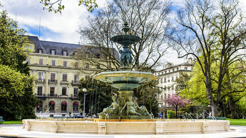 Fontaine du jardin anglais gen ve suisse photo stock for Jardin anglais geneve programme