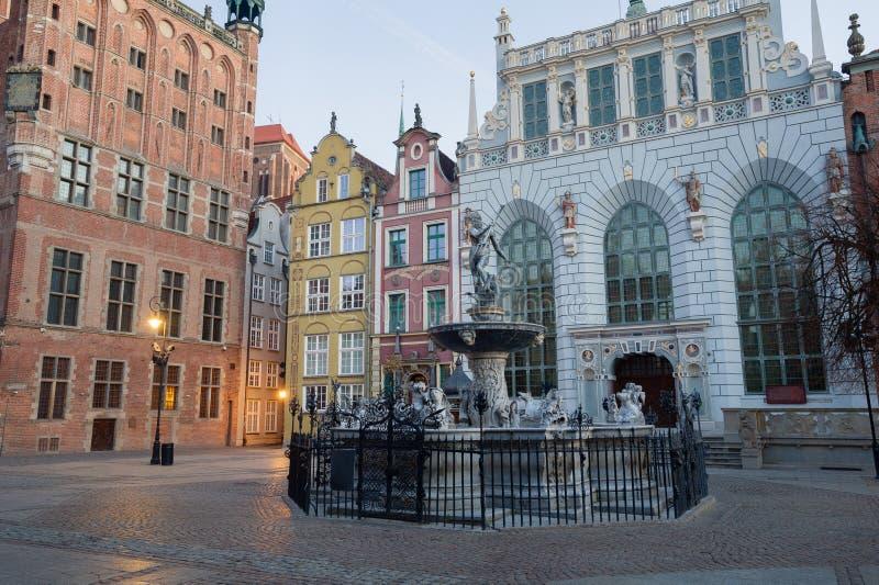 Fontaine du Neptune dans la vieille ville de Danzig, Pologne image libre de droits
