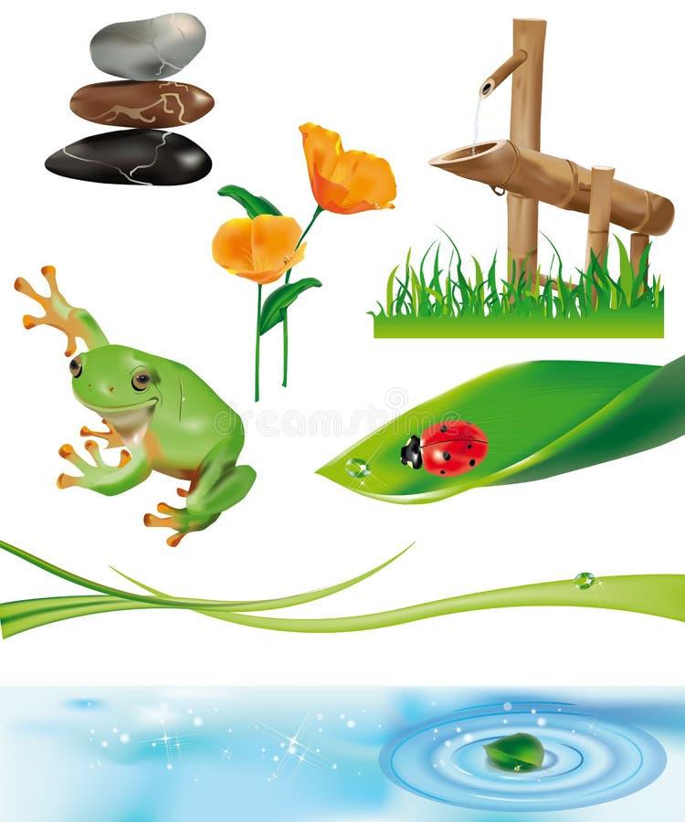 Fontaine en bambou 2 illustration libre de droits