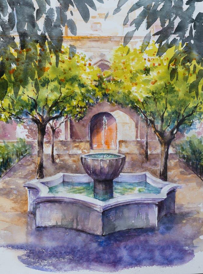 Fontaine en parc, Barcelone images stock