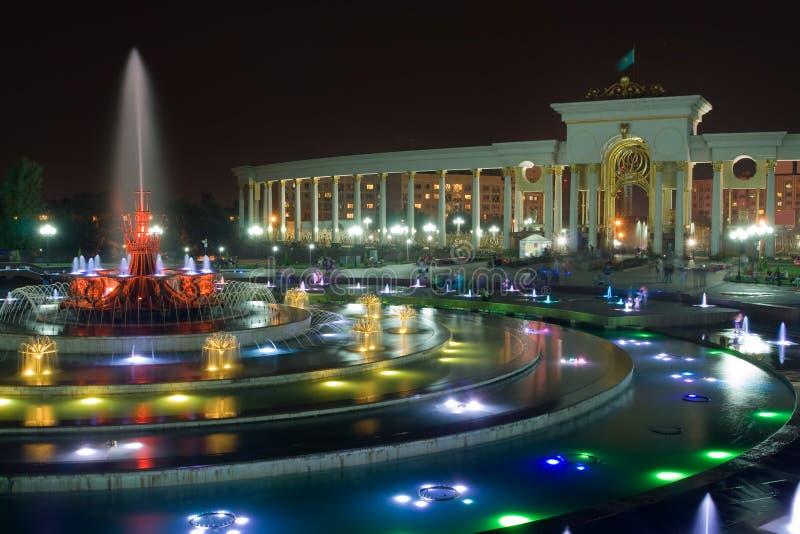 Fontaine en stationnement national d'Almaty image libre de droits