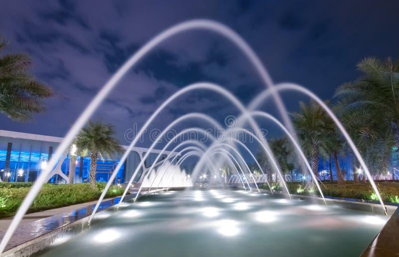Fontaine la nuit photo stock