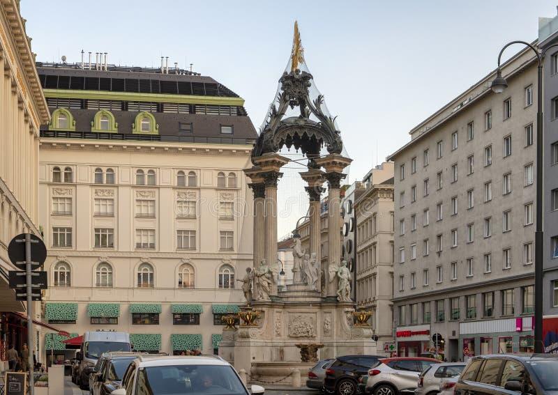 Fontaine nuptiale, place du marché de Hoher, Vienne, Autriche images libres de droits