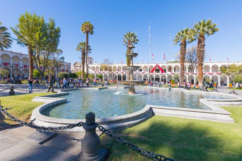 Fontaine Pérou de place d'au sol de défilé d'Arequipa photographie stock libre de droits