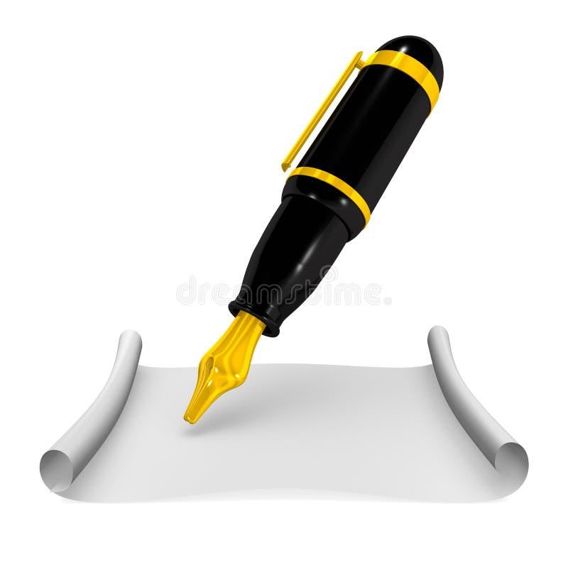 Fontaine Pen And Paper illustration libre de droits