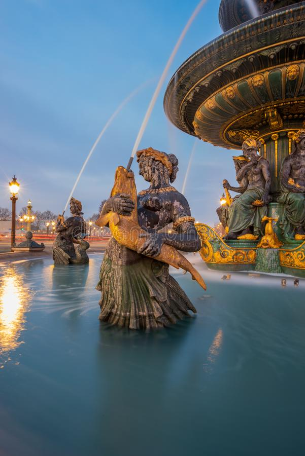 Fontaine Place de la Concorde in Paris stockfotografie