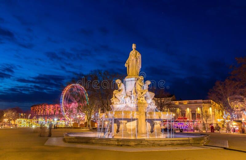 Fontaine Pradier en Nimes - Francia, Languedoc-Rosellón fotografía de archivo libre de regalías
