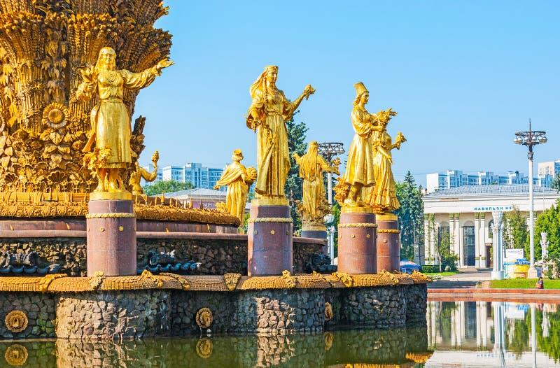 fontaine renversante de l'amitié des nations, Moscou photos libres de droits