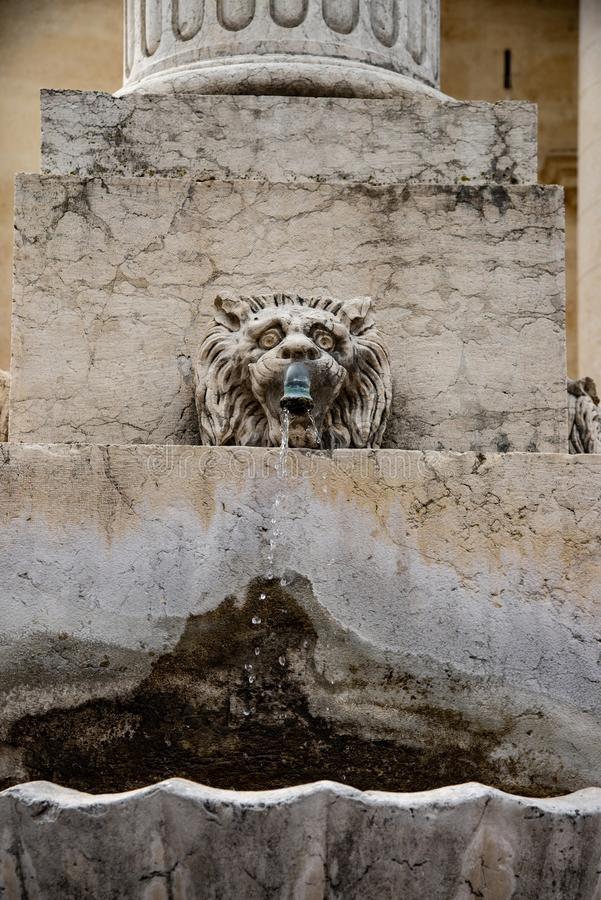 Fontaine représentée par la tête d'un lion et d'une grande coquille, avec de l'eau de jaillissement image stock