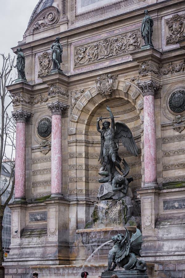 Fontaine St Michel arkivbild
