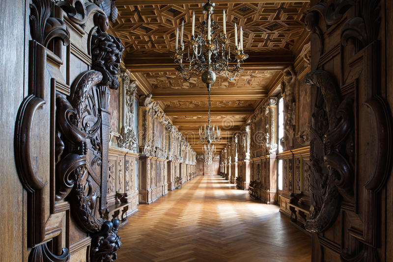 Fontainebleau, France - 16 August 2015 : Interior view. Of the Fontainebleau Palace ( Chateau de Fontainebleau ). It was added to the UNESCO list of World stock photos