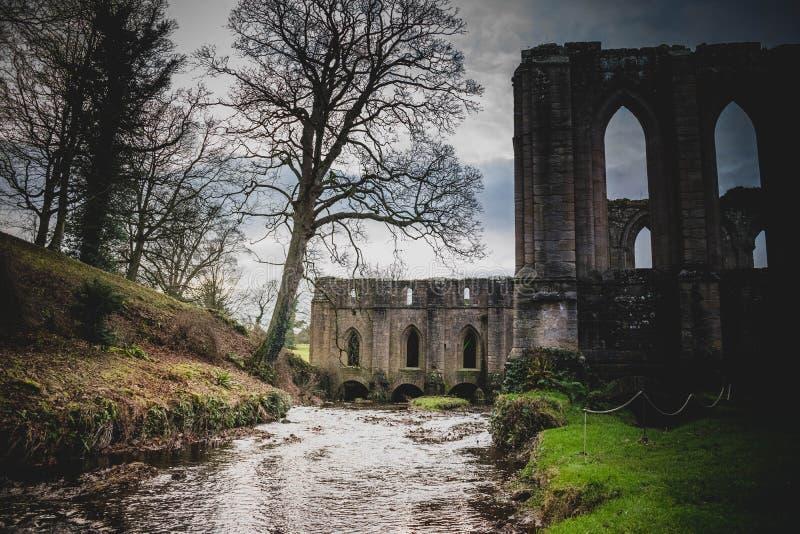 Fontaines Abbey Ruins, Ripon R-U photographie stock libre de droits