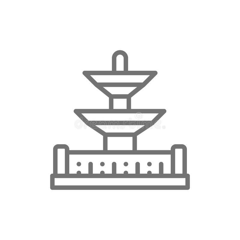 Fontaines dans le Place de la Concorde, point de repère ligne icône de Paris, France illustration de vecteur