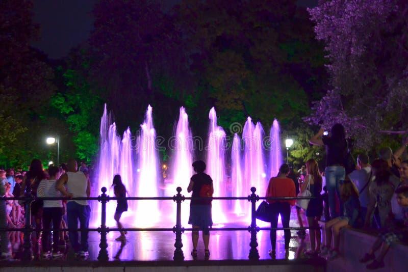 Fontaines de nuit, Plovdiv photos stock