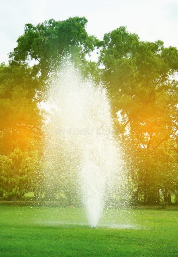 Fontaines en parc avec la lumière d'éclat images libres de droits