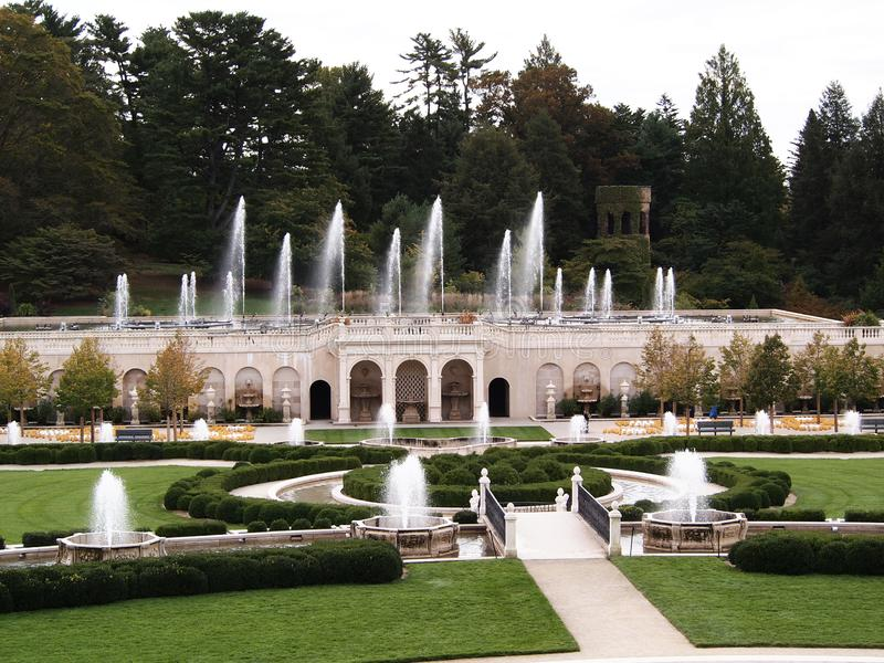 Fontains in park. Picture of the part of park with fontains Longwood Gardens, Pennsylvania, United States stock photo