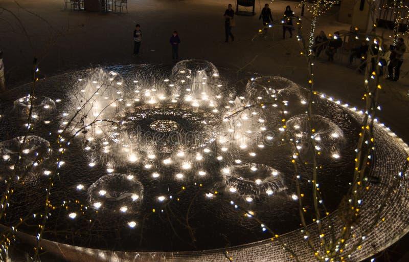 Fontana al centro commerciale dell'insenatura della città a Salt Lake City fotografia stock libera da diritti