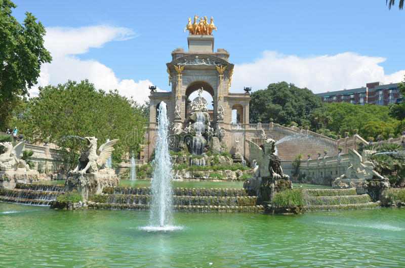Fontana a Barcellona immagine stock