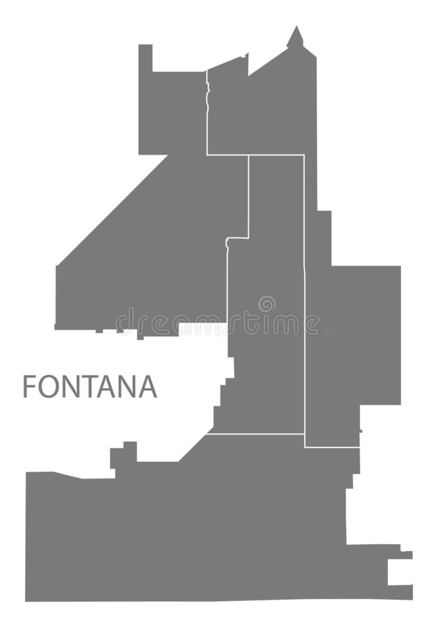Fontana California city map with districts grey illustration silhouette shape. Fontana California city map with districts grey illustration silhouette stock illustration