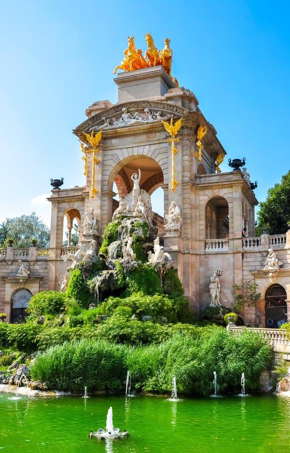 Fontana Cascada del parco di Ciutadella monumentale a Barcellona, Spagna immagini stock libere da diritti