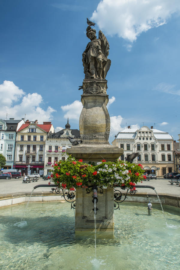 Fontana in Cieszyn, Polonia fotografia stock libera da diritti