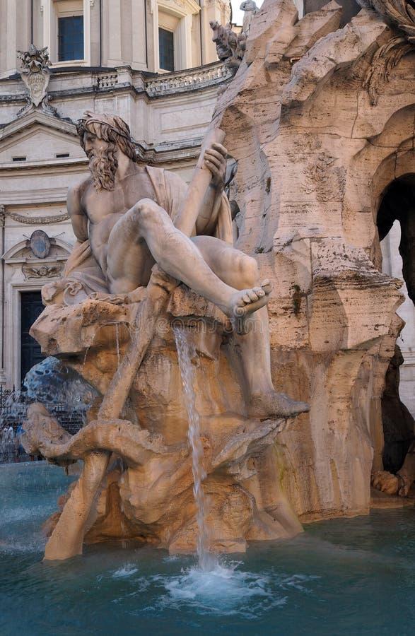 Fontana-dei Quattro Fiumi in Navona-Quadrat in Rom, Italien lizenzfreie stockfotografie