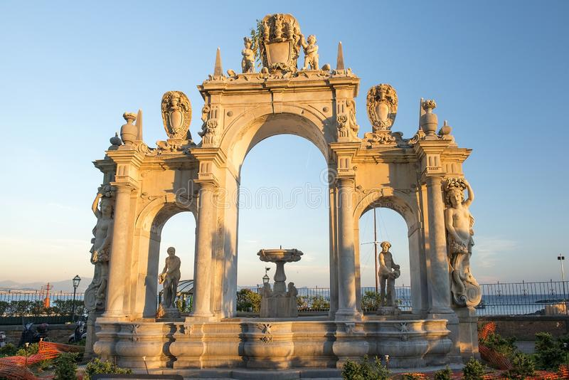 Fontana del Gigante or Fountain of the Giant in Naples royalty free stock photography