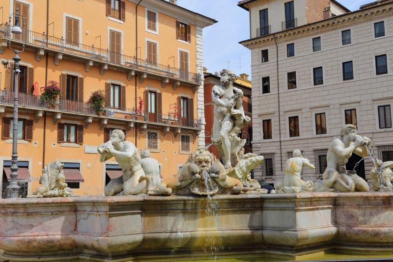 Fontana del Moro Cuadrado o plaza Navona de Navona imagen de archivo libre de regalías