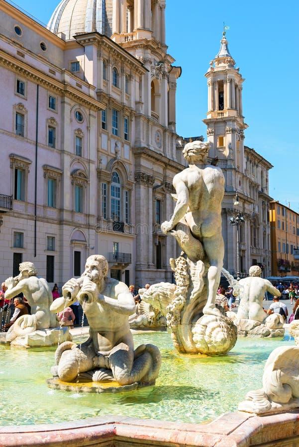 Fontana del Moro na praça Navona em Roma, Itália fotografia de stock royalty free
