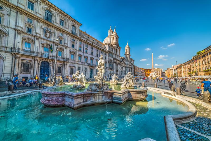 Fontana del Moro in Piazza Navona stock afbeelding