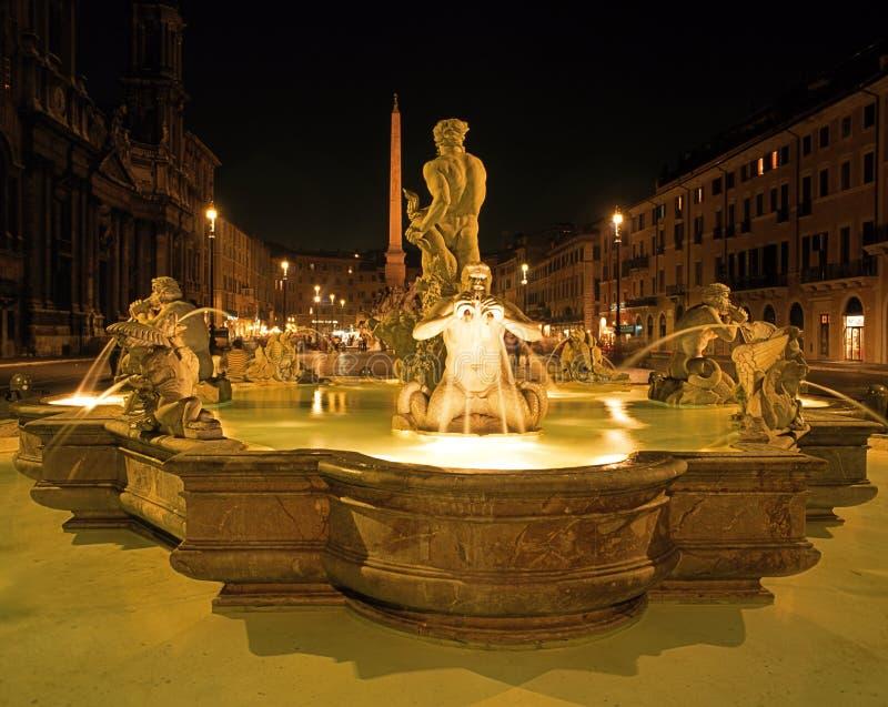 Fontana del Moro, piazza Navona, Roma, Italia. immagine stock libera da diritti