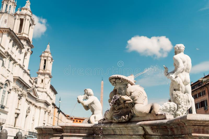 Fontana del Moro and Sant`Agnese in Agone church at Piazza Navona, Rome, Italy royalty free stock photography