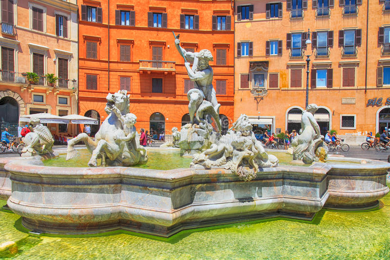 Fontana del Nettuno Fonte de Netuno na praça Navona, Roma fotos de stock