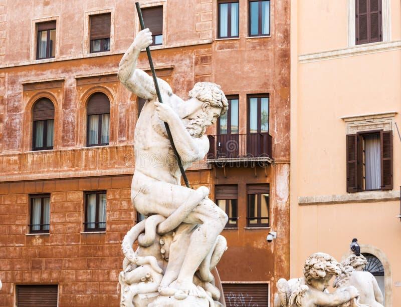 Fontana del Nettuno (Fontein van Neptunus) rome Italië stock afbeelding