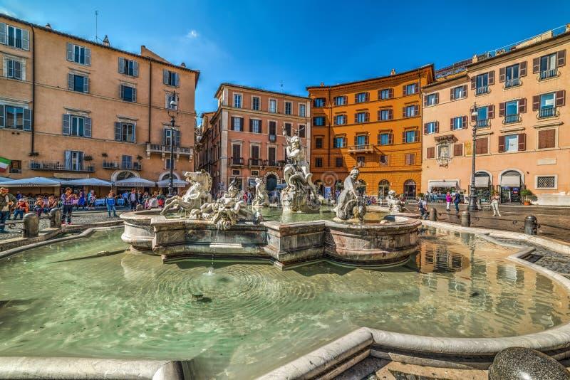 Fontana del Nettuno in Piazza Navona stock afbeeldingen