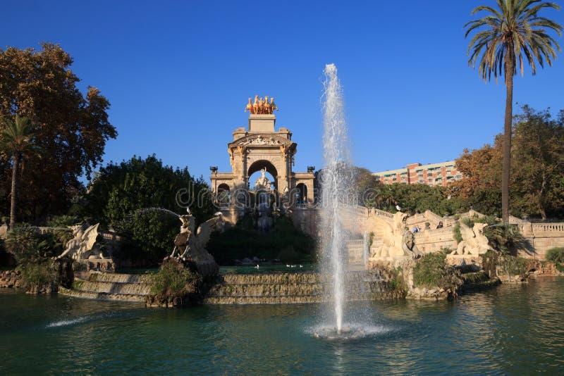 Fontana del parco di Parc de la Ciutadella a Barcellona immagine stock libera da diritti