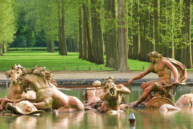 Fontana dell'Apollo al palazzo di Versailles fotografia stock libera da diritti