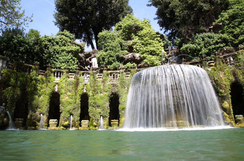 Fontana dell'Ovato, Villa d`Este fountain and garden in Tivoli n stock image
