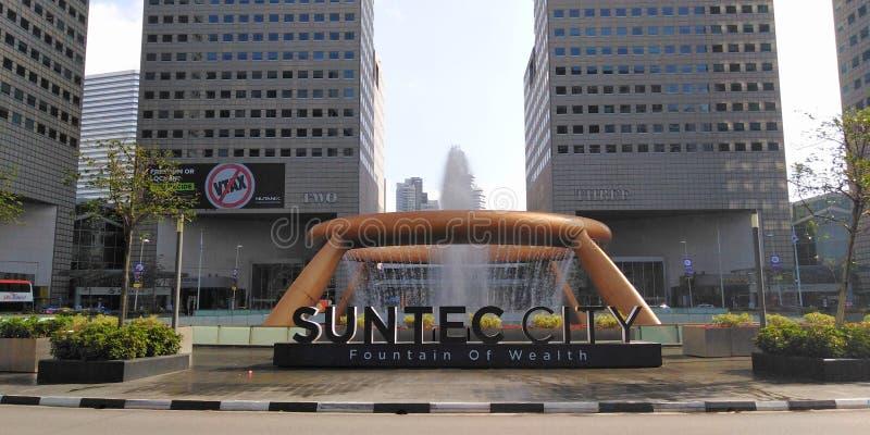 Fontana della città di Suntec di ricchezza immagine stock