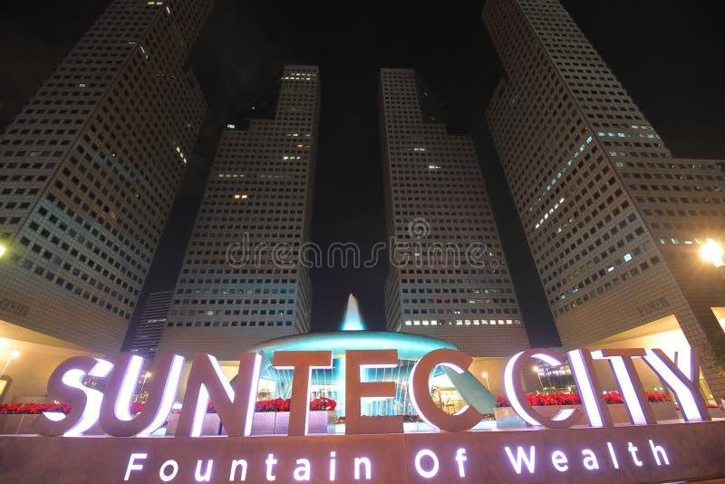 Fontana della città di Suntec di ricchezza Singapore immagini stock