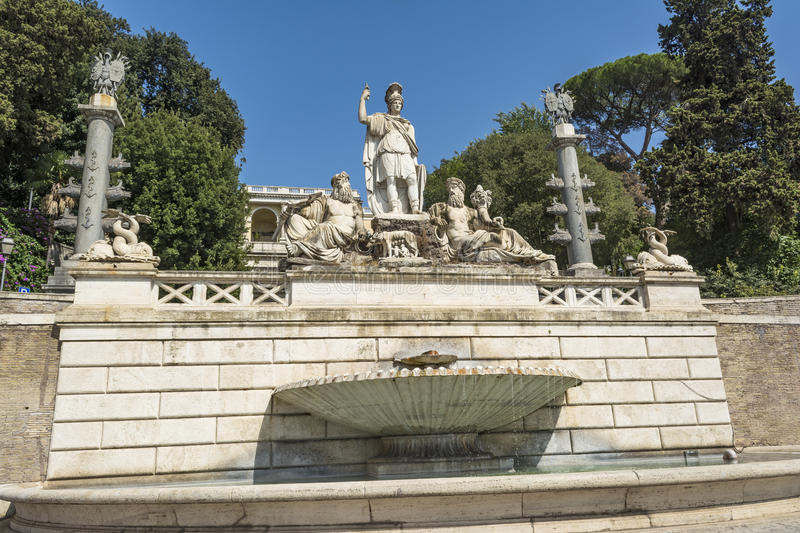 Fontana della Dea di Roma, Piazza del Popolo, Rome, Italy. Monumental fountain composed of the Rome goddess in the middle, and the two rivers the Tiber and royalty free stock photos