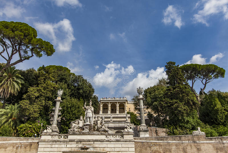 Fontana della Dea Roma in Piazza del Popolo in Rome. View at Terrace and the fountain at the Piazza del popolo In Rome Fontana della Dea di Roma e terrazza del royalty free stock image