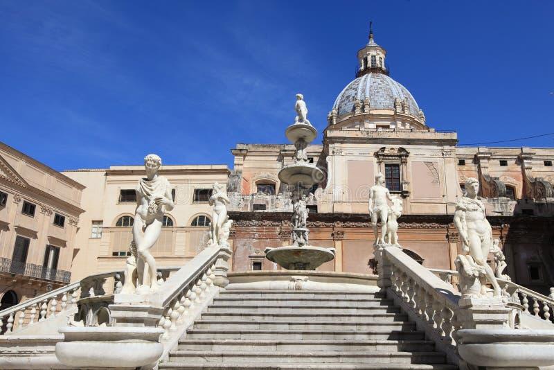 Fontana delle Vergogne in Sicily, Italy stock image