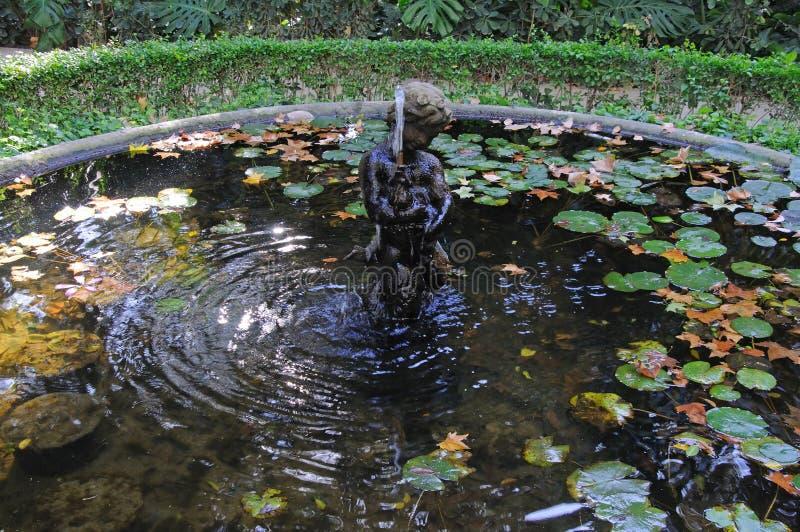 Fontana dello stagno di Tritone, Malaga, Spagna fotografia stock libera da diritti